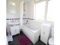 Matching white gloss under basin unit & free standing storage unit