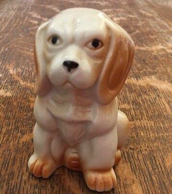 Vintage Dog Ornament/ Figurine- 10.5cm Tall- White & Tan