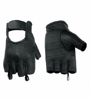 Mens Womens Perforated Gel Palm Fingerless Black Motorcycle Riding Summer Gloves