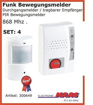 Funk Bewegungsmelder Durchgangsmelder Laden Glocke Set NR4 tragbar mit Vibration