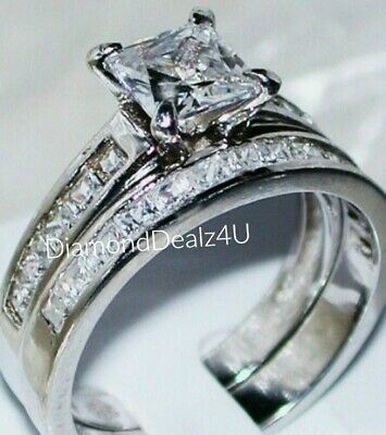 Princess cut Diamond Engagement Ring Bridal Band Set 14k White -
