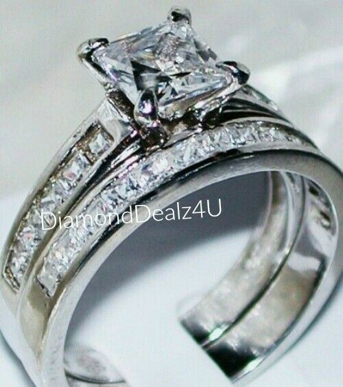Princess cut Diamond Engagement Ring Bridal Band Set 14k Whi