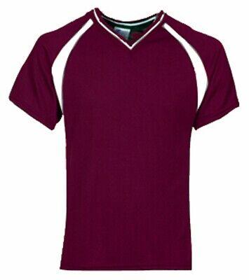 NEW MEN'S Champro Maroon Cool Plus Polyester V-Neck Soccer Jersey Shirt- 3XLarge