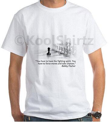 (Chess Pawn - Fighting Spirit by Bobby Fischer White T-Shirt (Men's/Unisex))