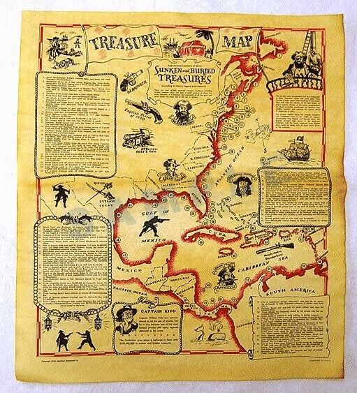 Genuine TREASURE MAP on Parchment Paper from the 1970
