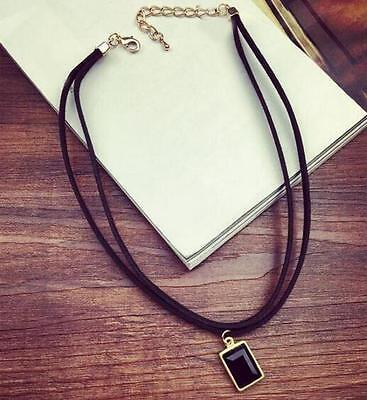 Black Collar bonechain Black Velvet Crystal Pendant Choker Necklace Jewelry