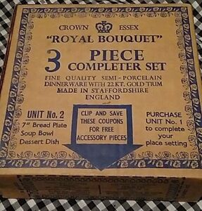 Crown Essex Royal Bouquet 3 piece completer set-new in box