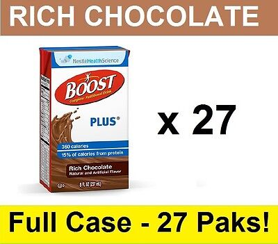 FULL CASE!! Nestle BOOST PLUS Nutritional Rich Chocolate 8oz Drink FREE SHIP! Boost Plus Drink Case