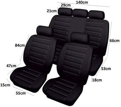 Other 1 Full Set of Black Airbag Leather Look Car Seat Cover Protectors