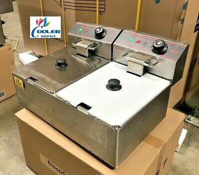 New 12l Double Electric Deep Fryer Counter Top Model Single Basket W Cover 110v