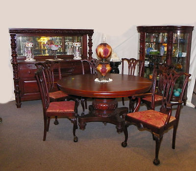 9 Pc Matching Antique Mahogany Dining Room Set - Table Curio Sideboard 6 Chairs