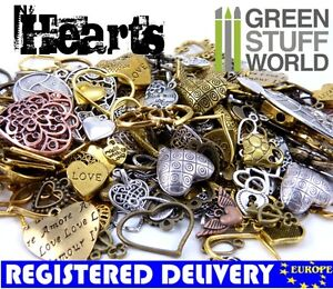 Mixed-HEART-Set-85-gr-Steampunk-Jewellery-Beads-Charm-and-Pendant