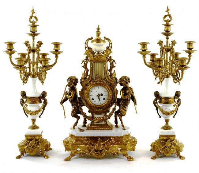 3pc French Neoclassical Figural Putti Bronze/Marble Mantel Clock set