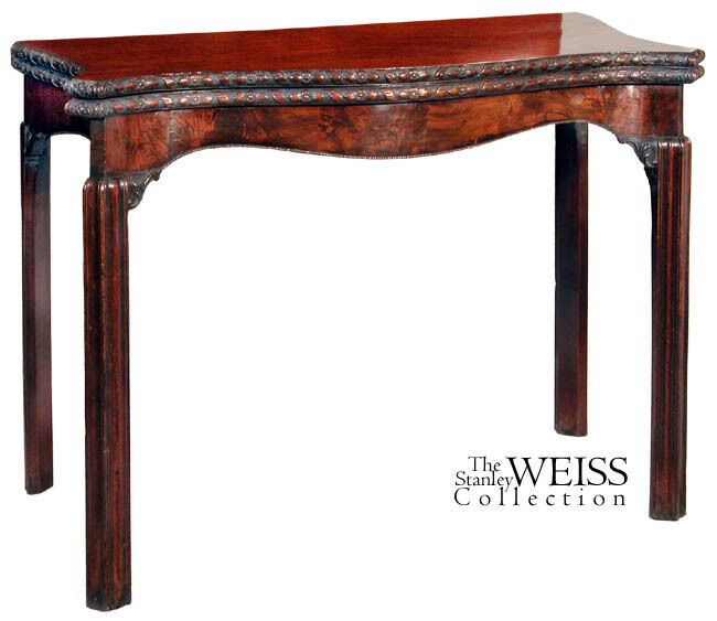 SWC-Chippendale Serpentine Card Table England, c.1780