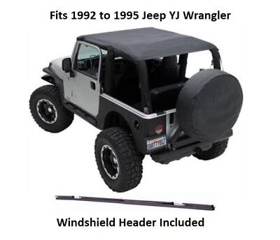 Header Safari Bikini (Jeep Extended Bikini Top with Windshield Header for 92-95 Jeep YJ)