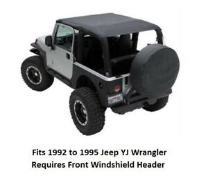 Jeep Extended Bikini Top for 92-95 Jeep YJ Wrangler - Cover Front and Rear Seats