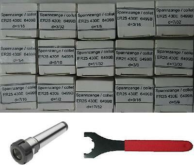 Mt4 Er25 Chuck+15 Pcs Er25 Collets+spanner -