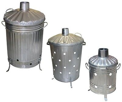 Small Medium Large Galvanised Garden Incinerator Burning Fire Bin Rubbish Burner