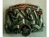 1987 Budweiser Firefighter This Buds For You Belt Buckle Bergamot