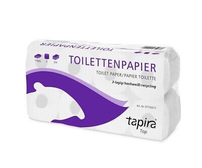 9 x 8 Pakete 72 Rollen Toilettenpapier, 3-lagig, hochweiß, Großpackung Tapira