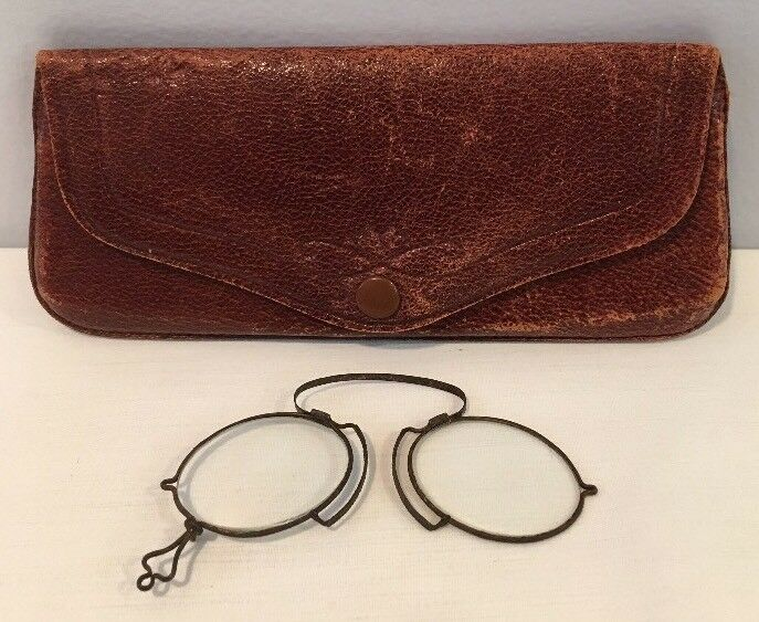 Antique Reading Glasses In Original Leather Case 19th Century Made In Germany