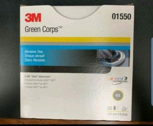 "3M Green Corps Stikit 8"" Production Discs 40 Grade 50 Discs per Box 01550"