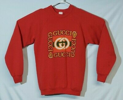 RARE Vintage 80's Red Bootleg Gucci Pullover Sweatshirt NYC Streetwear Size M/L
