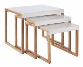 Habitat Kilo White Metal Nest Of 3 Side Tables