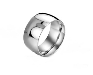 Men's Polished Stainless Steel Wedding Band - Size 12