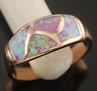 Fire Opal Women Jewelry Rose Gold Silver Ring--new!