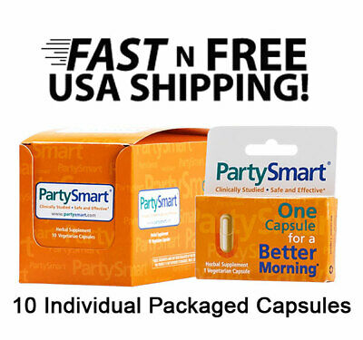 PartySmart Party Smart Herbal 10 Veg Capsules Hangover Relief FREE USA SHIPPING!