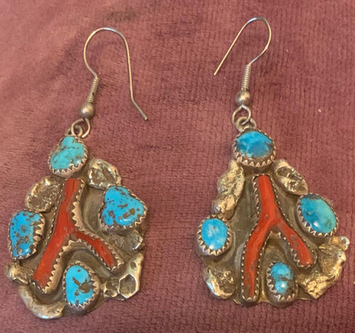 Zuni attr Dan Simplicio Earrings Natural Coral & Turquoise Sterling Silver .925