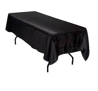 60x102 SATIN Rectangle Wedding Banquet Event Table Cover Tablecloth - BLACK