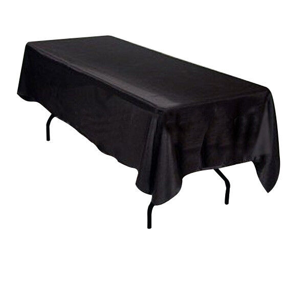 60x102 SATIN Table Cover Tablecloth Rectangle Wedding Banquet Event - BLACK