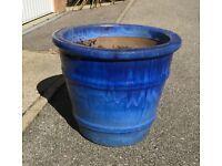 Bright blue glazed pot