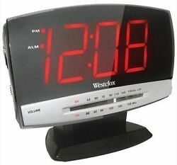 Westclox 1.8 LED Electric Alarm Clock with AM FM Radio in Space Saving Display