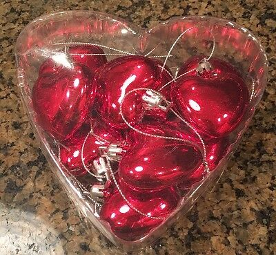 Lot of 12 Red Shiny Puff Heart shaped Holiday Valentine's Day ornaments NIB