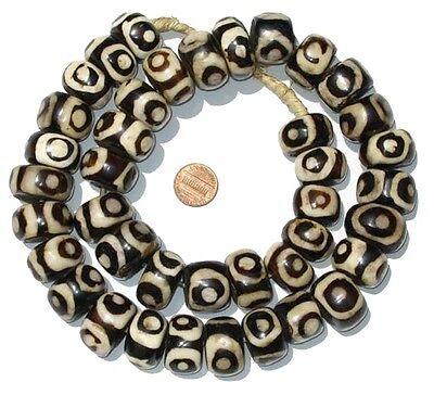 African Eye Design Batik Bone Beads (Large)  Kenya
