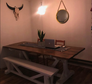 Beautiful Farmhouse Table with Matching White Bench for sale!