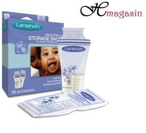 Lansinoh Baby Breast Milk Storage Bags 25 Pieces Double Pre Sterilized Zipper