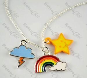 KITSCH-rainbow-CHARM-NECKLACE-thunder-cloud-star-MULTI-COLOUR-16-chain-silver-pl