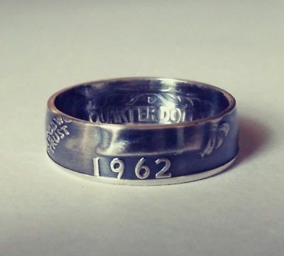 1962  Sizes 4   10  Silver Coin Ring  Year   In God We Trust  Liberty Shown