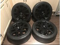 BLACK SKODA VRS ALLOY WHEELS 5x100 VW AUDI VOLKSWAGEN