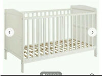 John Lewis 120x60 cot, mothercare mattress, three fitted sheets and two mattress protectors