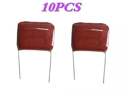 10 Pcs Metal Film Capacitors Cbb22 475j 250v 4.7uf 5 P27mm