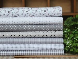 Gray-Series-7-Assorted-Pre-Cut-Charm-Cotton-Quilt-Fabric-17-7-Fat-Quarters