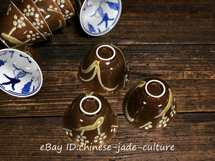 5 Pairs Old Chinese Blue White Porcelain Handwork Flower Wine Tea Cups Bowls