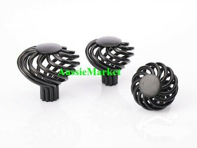 4 x door knobs handles black drawer cabinet wardrobe bird cage screw home metal, used for sale  Shipping to Canada