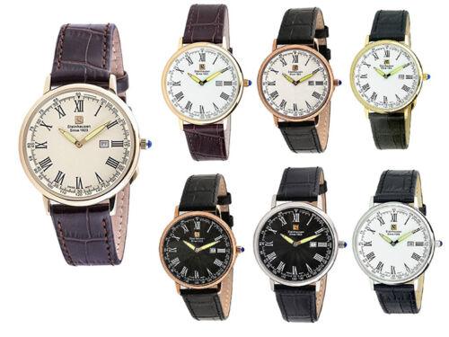 Steinhausen Men's Altdorf Swiss Quartz Stainless Steel Leather Watch