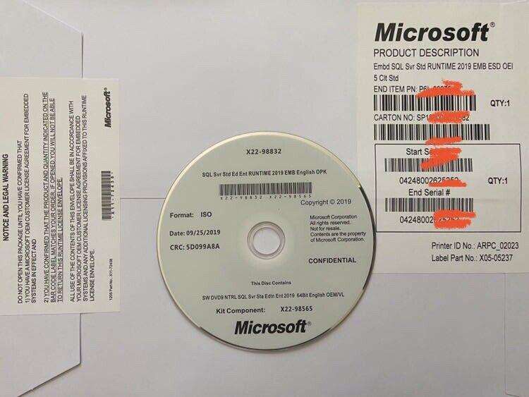 SQL Server Standard 2019 16 Core License Key DVD & COA ,Brand New Sealed